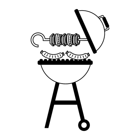 Parrilla barbacoa pincho salchichas calientes ilustración vectorial