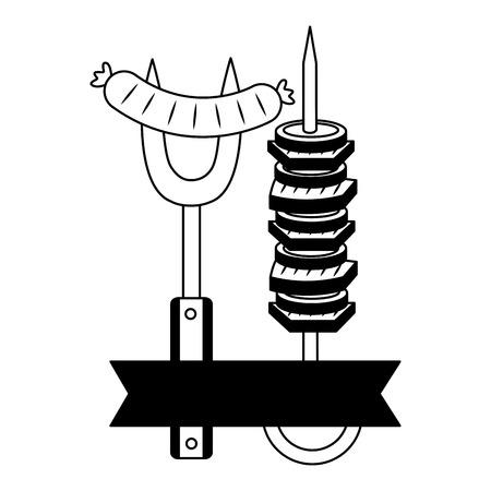barbecue fork sausage and skewer vector illustration