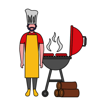 Koch Mann withBarbecue Grill Würstchen Vektor-Illustration Vektorgrafik