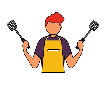 man holding two spatulas utensils vector illustration Imagens - 126821191