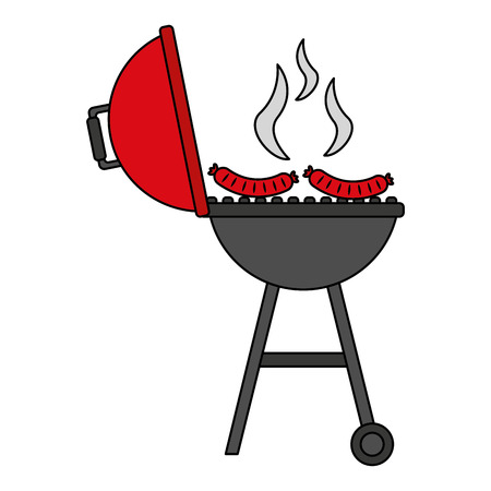 barbecue grill hot sausages food vector illustration vector illustration