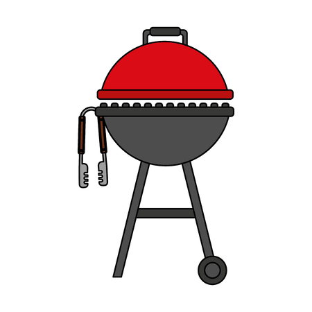 barbecue grill and tongs equipment vector illustration