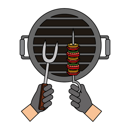 hands with kebab and fork grill barbecue vector illustration
