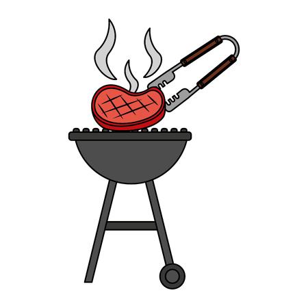 Grillgrill mit Fleisch- und Zangenvektorillustration Vektorgrafik