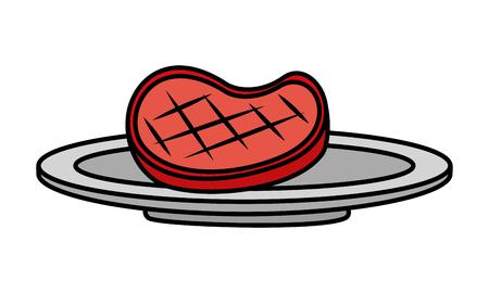meat steak on dish white background vector illustration Archivio Fotografico - 126821198