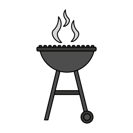 barbecue grill smoke hot white background vector illustration