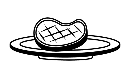meat steak on dish white background vector illustration Illustration