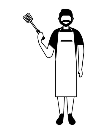 man with apron and spatula utensil vector illustration Illustration