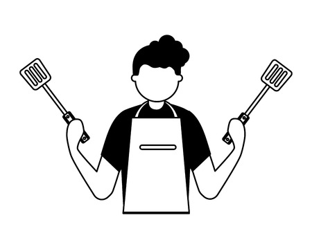 man holding two spatulas utensils vector illustration Vector Illustration