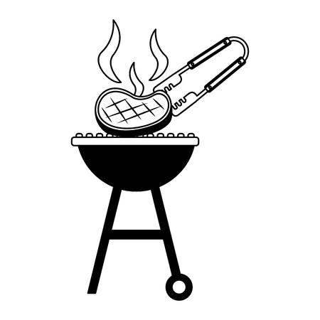 barbecue grill with meat and tongs vector illustration