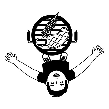 man looking up with barbecue grill vector illustration 写真素材 - 126821220