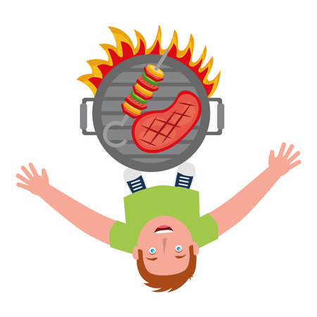 man looking up with barbecue grill vector illustration