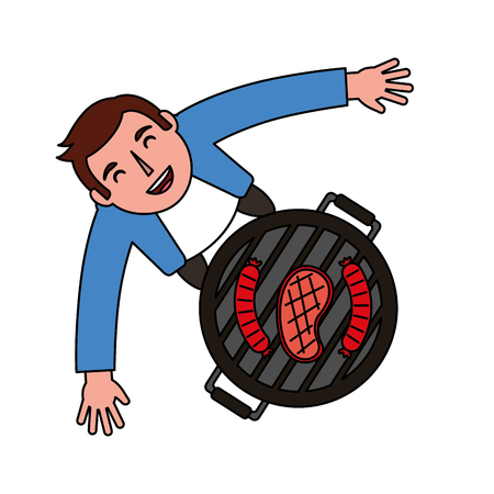 man looking up with barbecue grill vector illustration Standard-Bild - 126821235