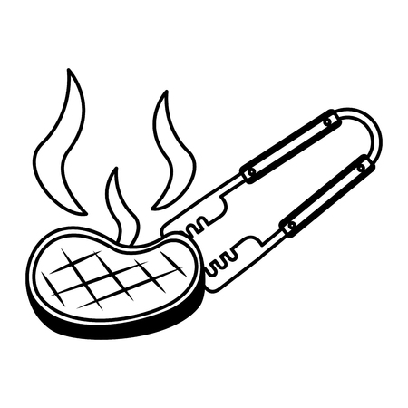 barbecue tongs with meat steak vector illustration Stockfoto - 126821242