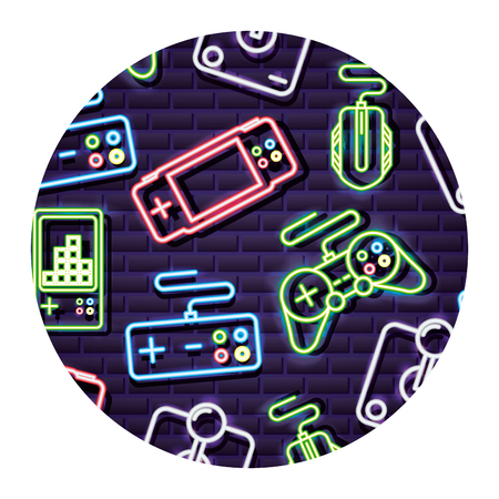 control joystick gamepad neon video game background vector illustration
