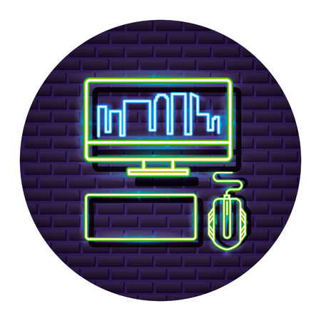 computer mouse and keyboard neon video game vector illustration