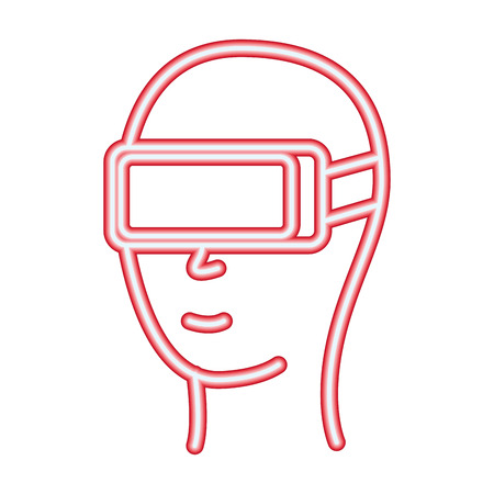 head with glasses vr neon video game vector illustration Illustration