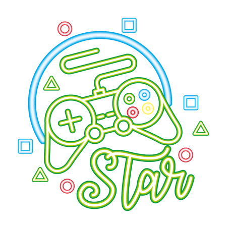 controller star neon video game vector illustration