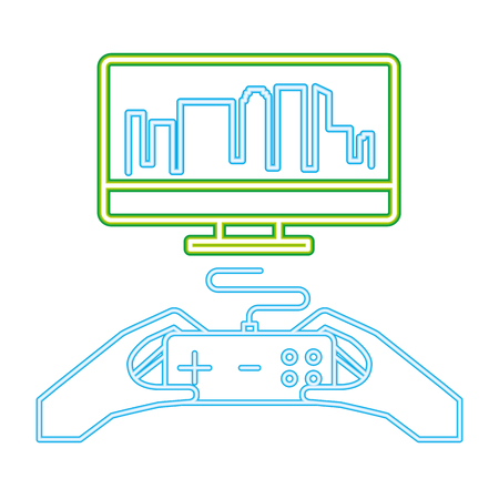 hands with control computer neon video game vector illustration