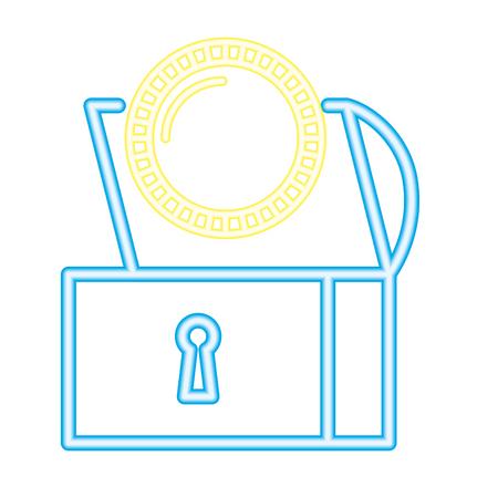 chest treasure coin neon video game vector illustration