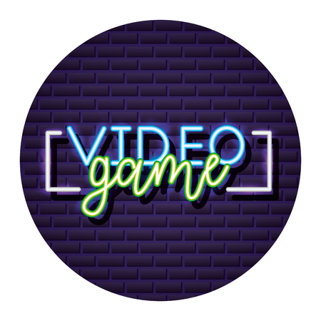 neon video game lettering board vector illustration Çizim