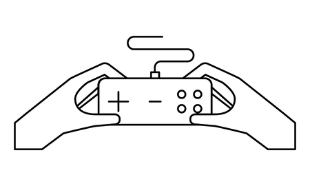hands holding control on white background vector illustration Stock Illustratie