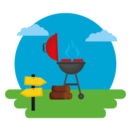 barbecue grill sausages wooden outdoors vector illustration