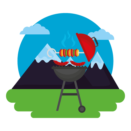 barbecue grill kebab and sausages outdoors vector illustration