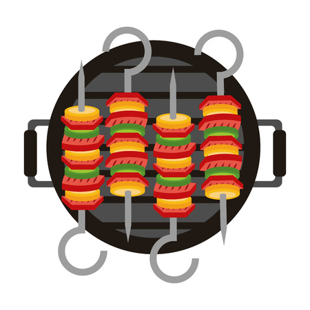 barbecue grill and kebabs food vector illustration