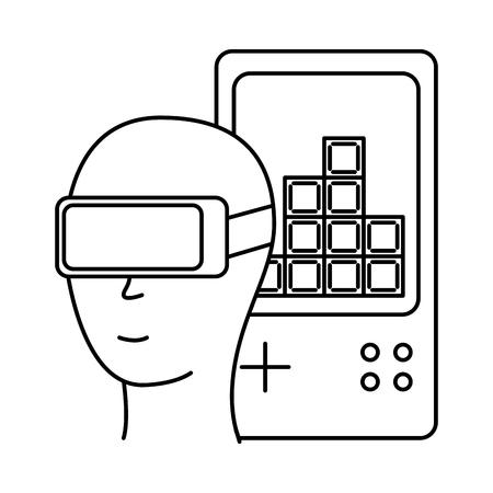 head with glasses vr gamepad video game vector illustration Illustration