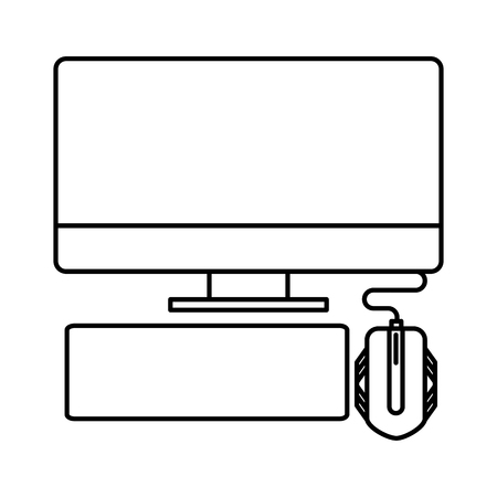 computer mouse and keyboard on white background vector illustration