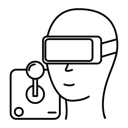 head with glasses vr video game joystick vector illustration