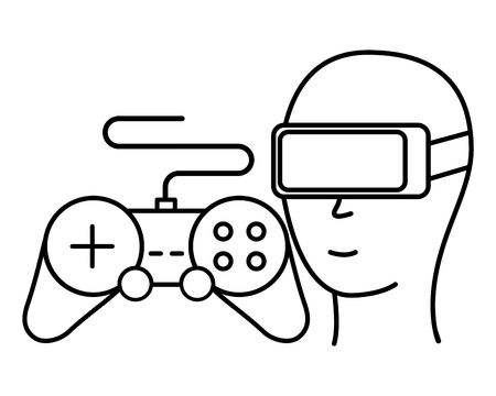 head with glasses vr and control video game vector illustration 向量圖像