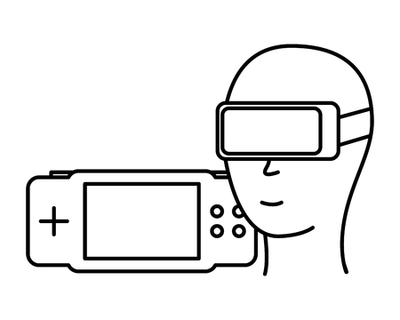 head with glasses vr gamepad video game vector illustration Çizim