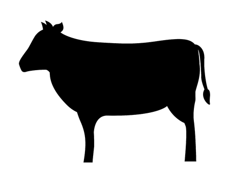 silhouette cow on white background vector illustration