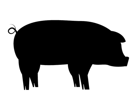silhouette pig on white background vector illustration Illustration