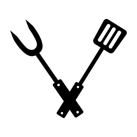 fork and spatula utensils on white background vector illustration Çizim
