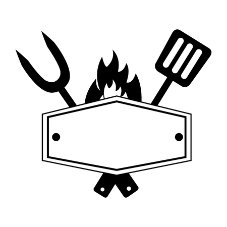 fork and spatula utensils board flame vector illustration
