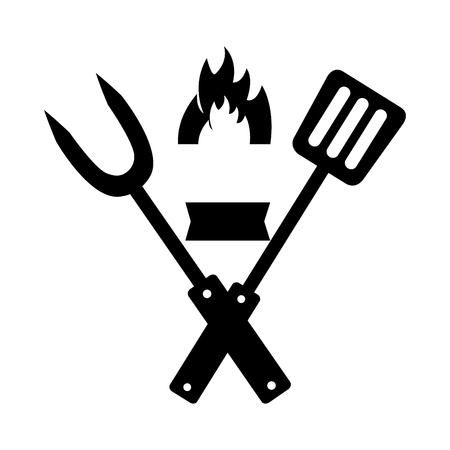 fork and spatula utensils flame vector illustration