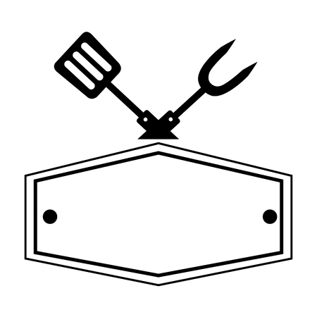 fork and spatula utensils board vector illustration