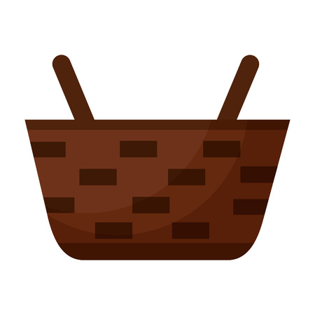 wicker basket on white background vector illustration