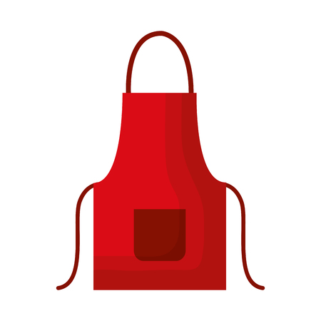 red apron on white background vector illustration