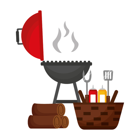 wicker basket barbecue grill wooden utensils vector illustration