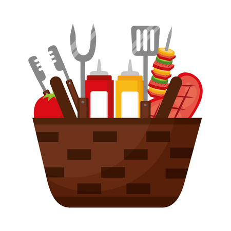 wicker basket barbecue sauces kebab meat vector illustration Ilustração
