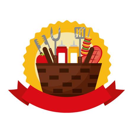 wicker basket barbecue sauces kebab meat emblem vector illustration Standard-Bild - 126821322