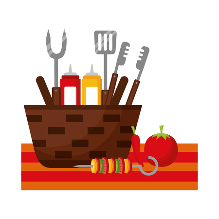 wicker basket barbecue sauces tongs vector illustration Illustration