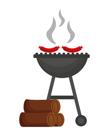 barbecue grill with sausages and wooden vector illustration Illustration
