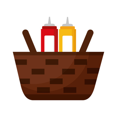 wicker basket with mustard and ketchup vector illustration