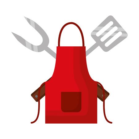 Delantal de barbacoa tenedor y espátula ilustración vectorial Ilustración de vector