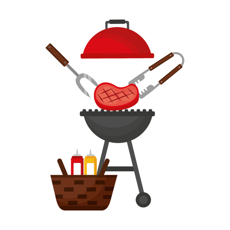 barbecue grill steak and basket picnic vector illustration Ilustração